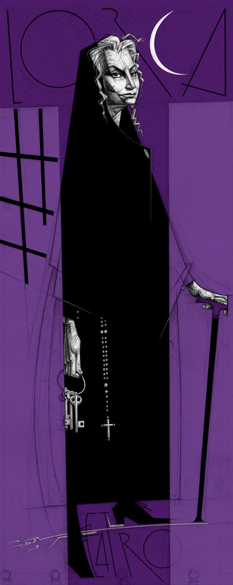 01- Margarita Xirgu (Bernarda Alba) versus Teatro, Federico García Lorca, Paco Giménez, exposicion 'Exiliados ilustrados', comisario Mac Diego, La Nave, Universidad de Valencia