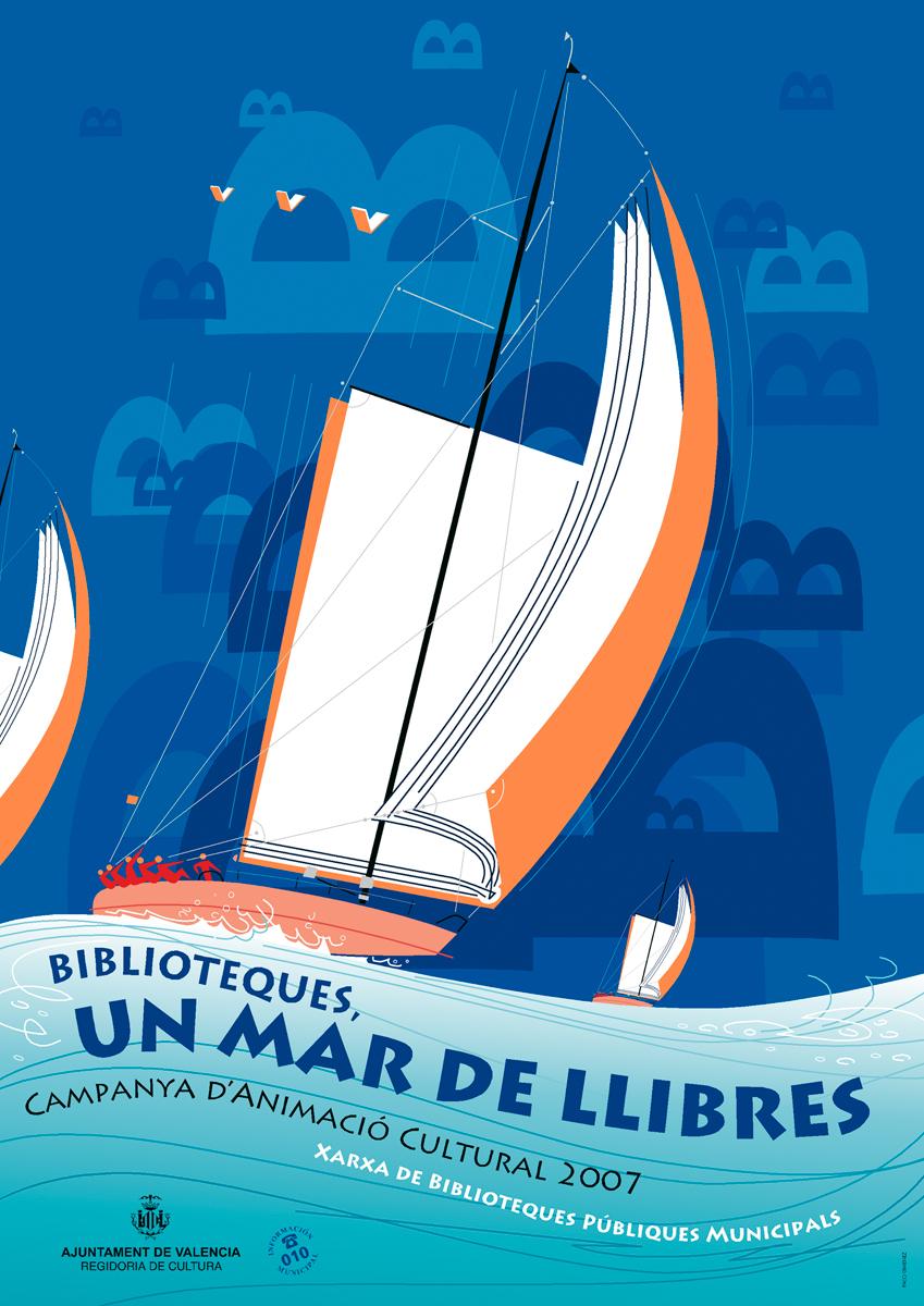 05- cartell 'Mar de llibres', Xarxa Biblioteques, Ajuntament de València, disseny Paco Giménez, Dia del llibre