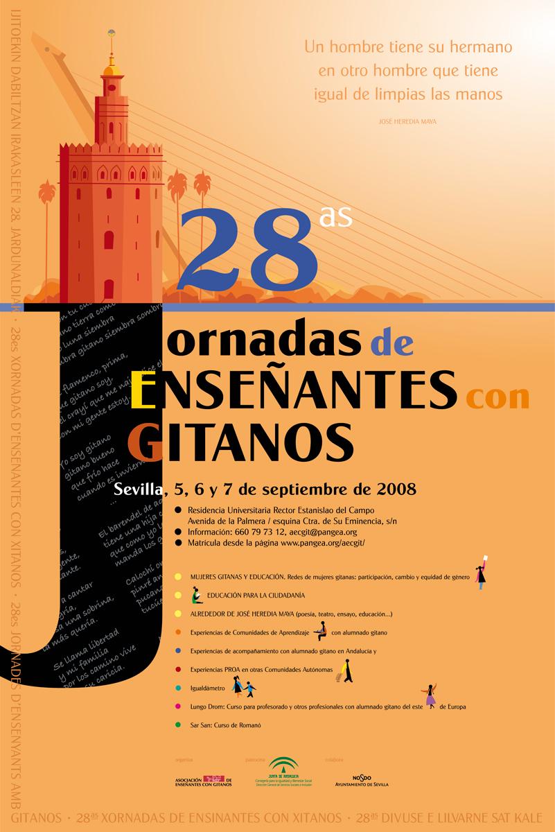 06- cartel'28 Jornadas de Enseñantes con Gitanos', 2008 Sevilla, AECG, diseño Paco Giménez
