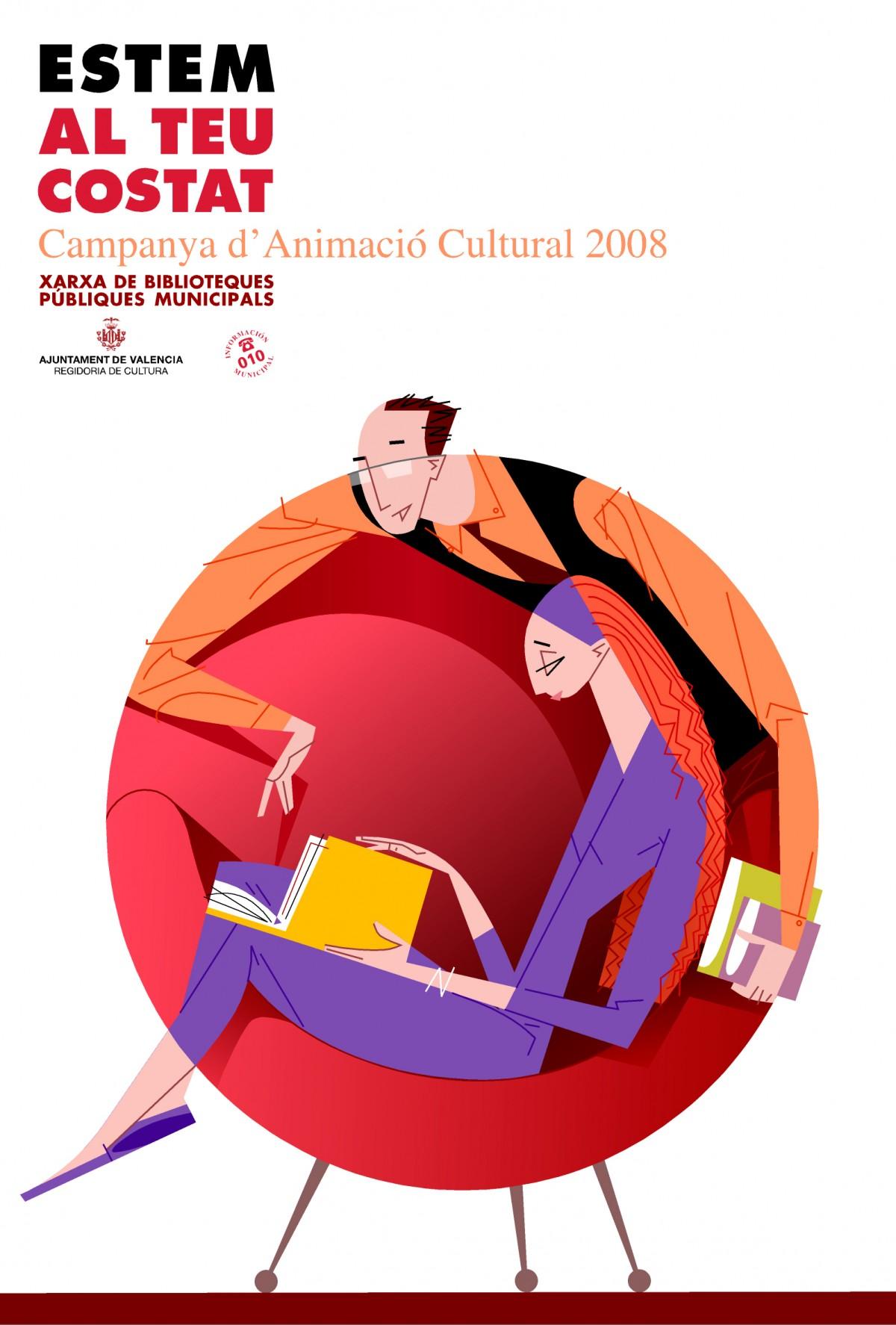 08- cartell 'Estem al teu costat', Xarxa de Biblioteques, Ajuntament de València, disseny Paco Giménez