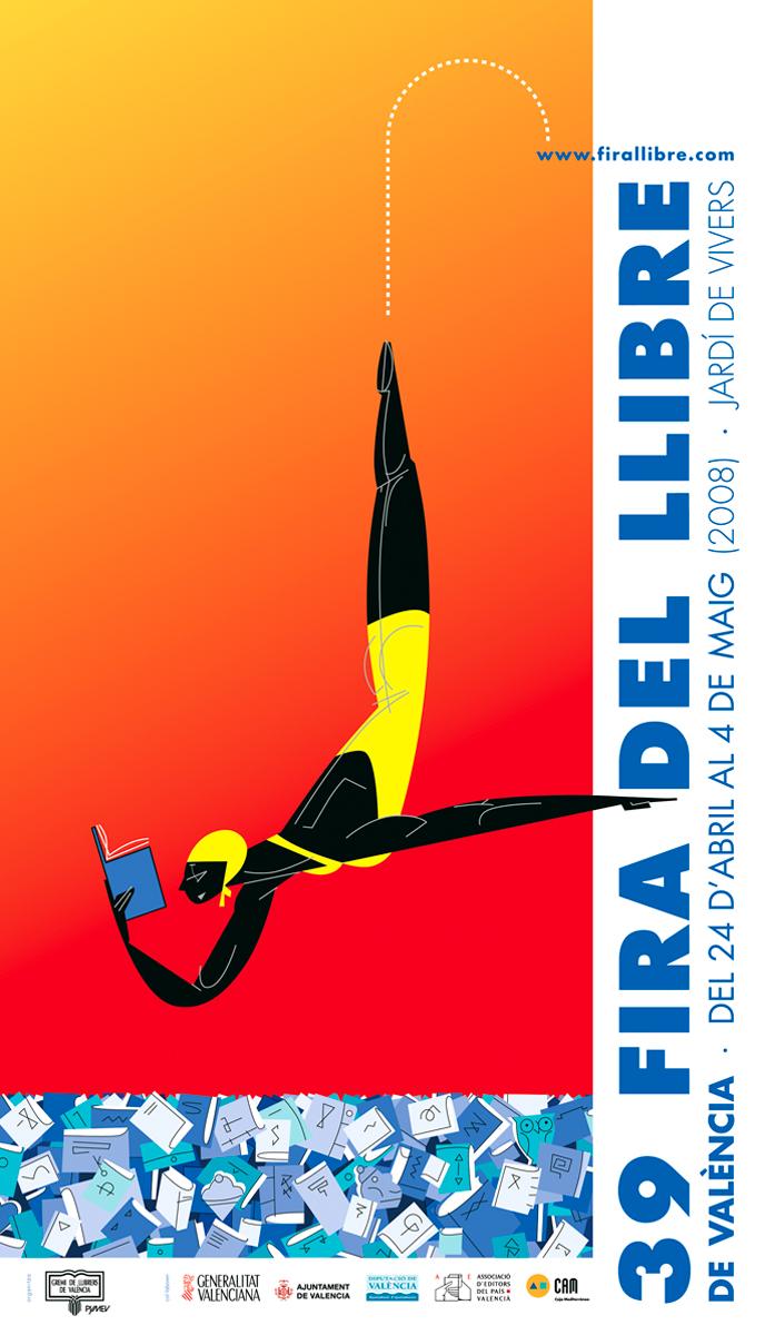 cartell 'Fira del Llibre de València 2008', Gremi de Llibrers, disseny Paco Giménez