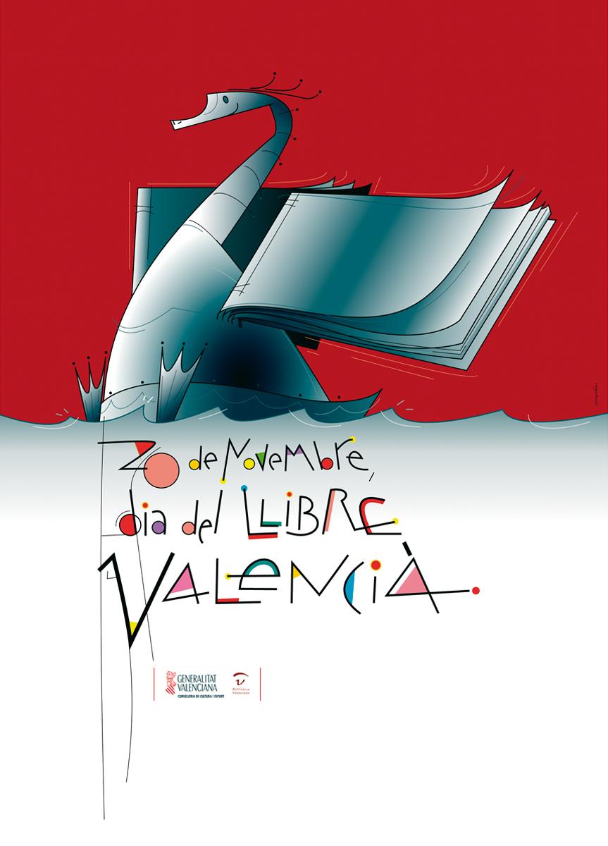 cartell, Dia llibre Valencià, Generalitat Valenciana, disseny Paco Giménez
