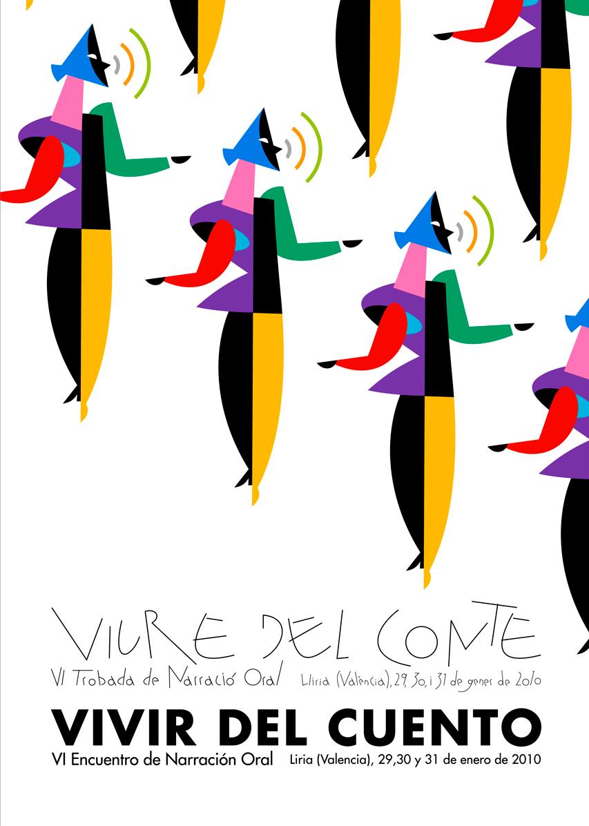 13- cartell 'Vivir del cuento', Jornadas de Narradores i Narradors Organitzats, diseño Paco Giménez