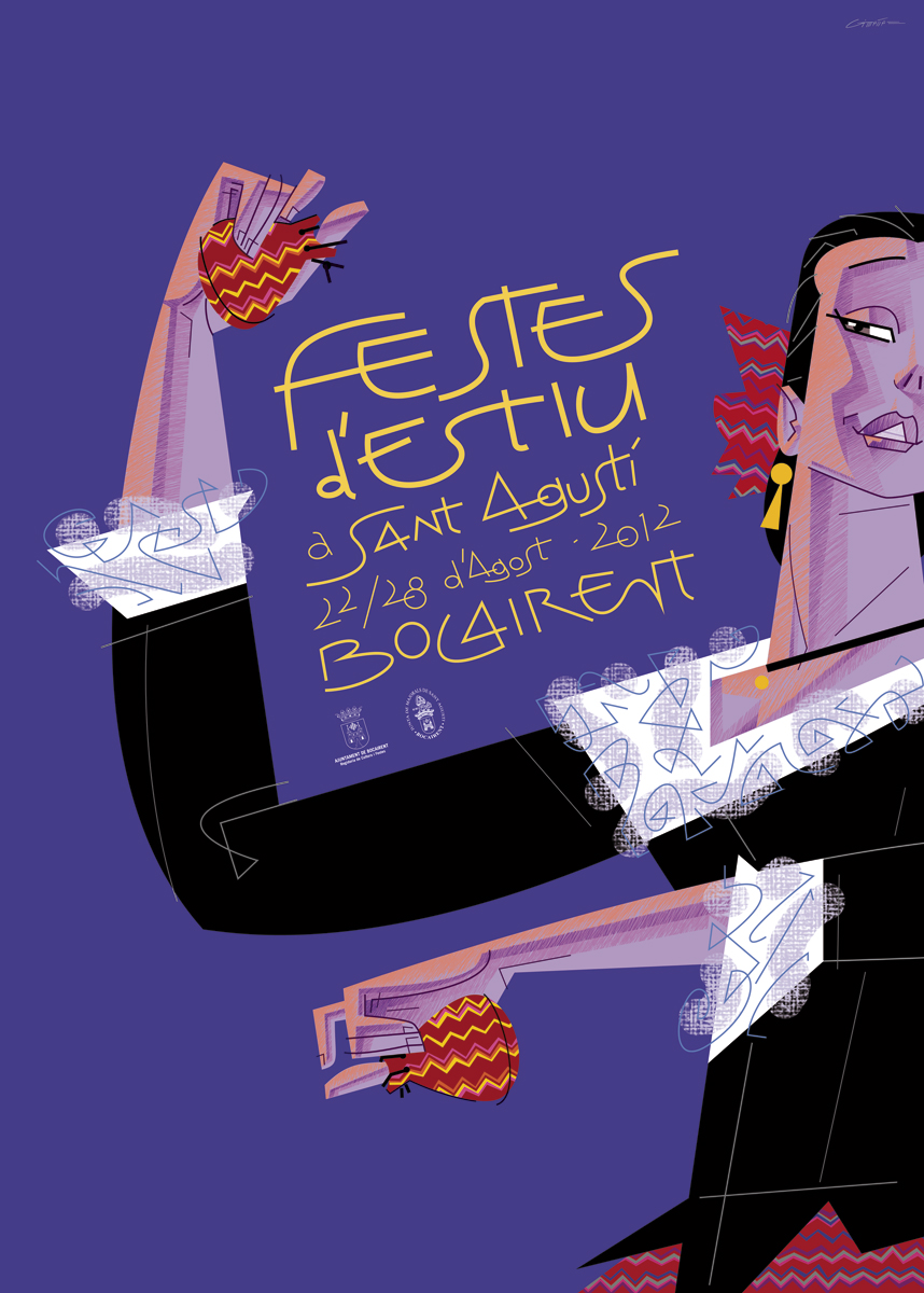 16- cartell 'Festes d'estiu Sant Agusti', Bocairent 2012, disseny Paco Giménez