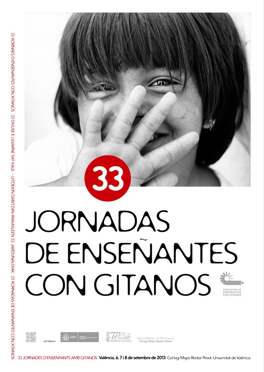 17- cartel '33 Jornadas de Enseñantes con Gitanos', AECG, diseño Paco Giménez
