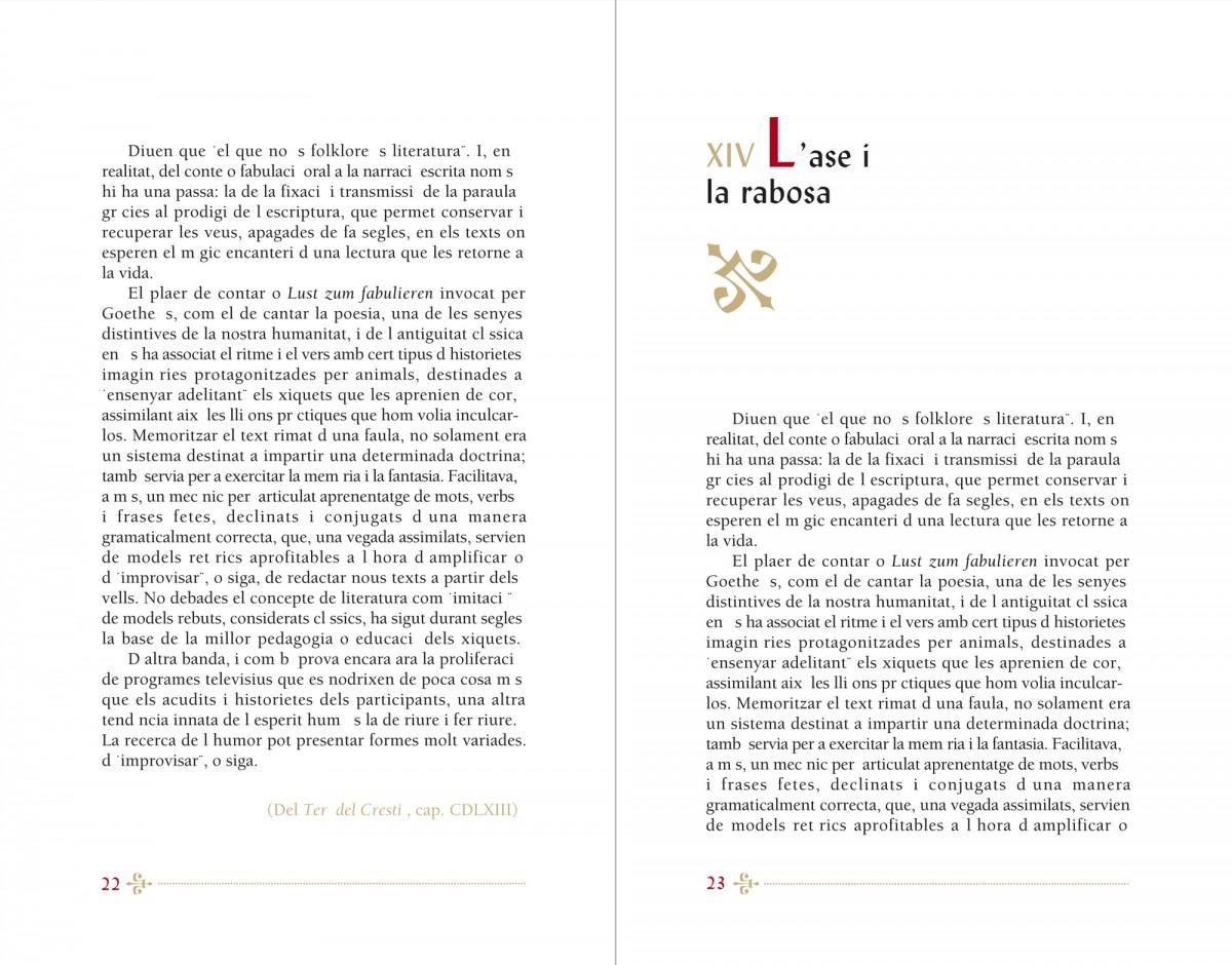 capitol, Contes i faules, Francesc Eiximenis, disseny Paco Giménez
