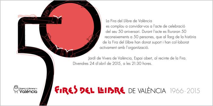 INVITACIóN, 50 ferias del libro de Valencia, diseño Paco Giménez
