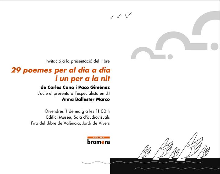 Invitacio-presentacio-29-poemes-Carles-Cano-Paco-Gimenea-Anna-Ballester--Ed-Bromera--Fira-del-Llibre