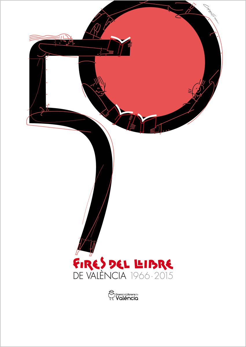 LÁMINA 50 Ferias del Libro de Valencia, diseño Paco Giménez
