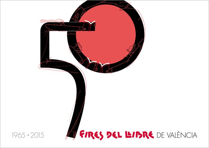 PORTADA libro 50 Ferias del Libro Valencia, diseño Paco Giménez