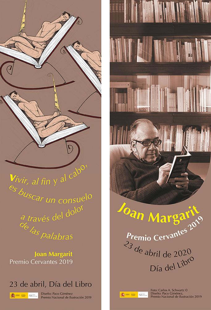 Banderolas del Día del Libro 2020 y de Homenaje al Premio Cervantes 2019, Joan Margarit, diseño Paco Giménez, Premio Nacional de Ilustracion 2019