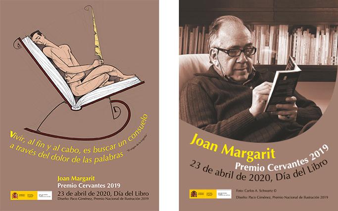 Cartel del Día del Libro 2020 y de Homenaje al Premio Cervantes 2019, Joan Margarit, diseño Paco Giménez, Premio Nacional de Ilustracion 2019
