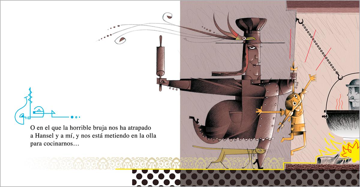 bruja del chocolate, Hansel y Gretel, ilustración Paco Giménez
