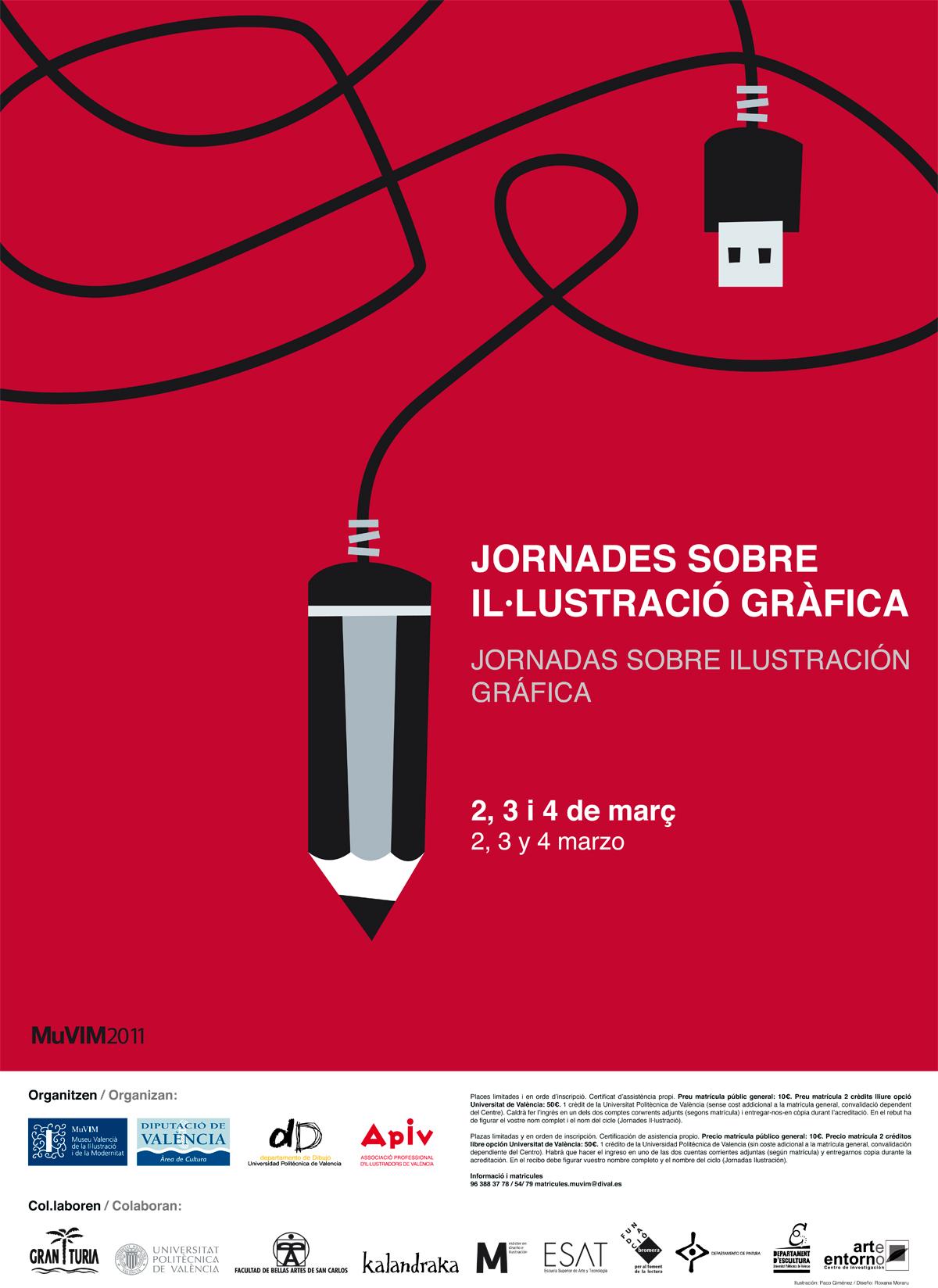 cartel 'Jornadas sobre ilustración gráfica' en el muVIM