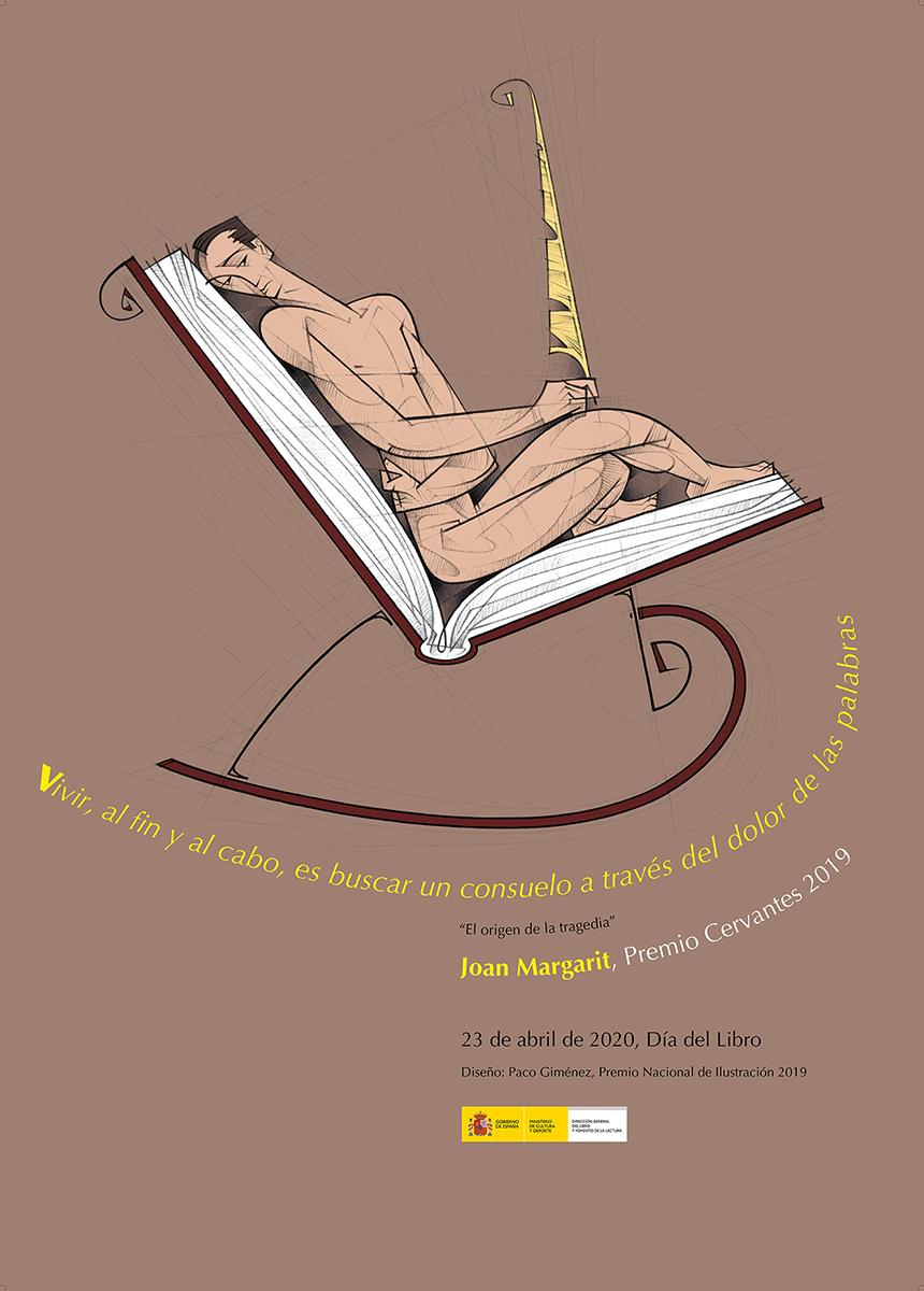 Cartel del Día del Libro 2020 y de Homenaje al Premio Cervantes 2019, Joan Margarit, diseño de Paco Giménez, Premio Nacional de Ilustracion 2019