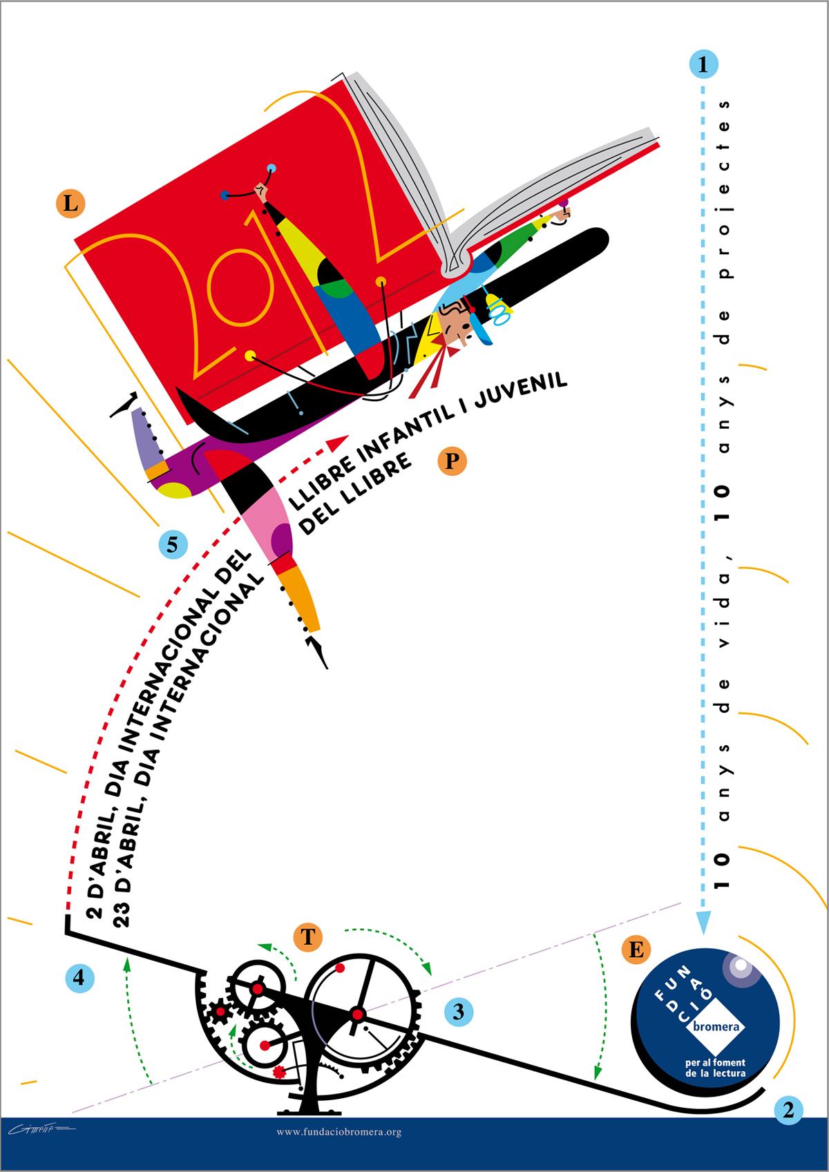 cartell Dia internacional del llibre infantil i juvenil, 10 anys de Fundació Bromera, disseny Paco Giménez