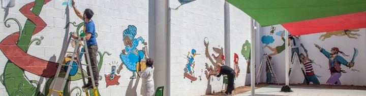 Mural para un centro escolar de la Cruz Roja