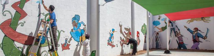 Mural per a un centre escolar de la Creu Roja