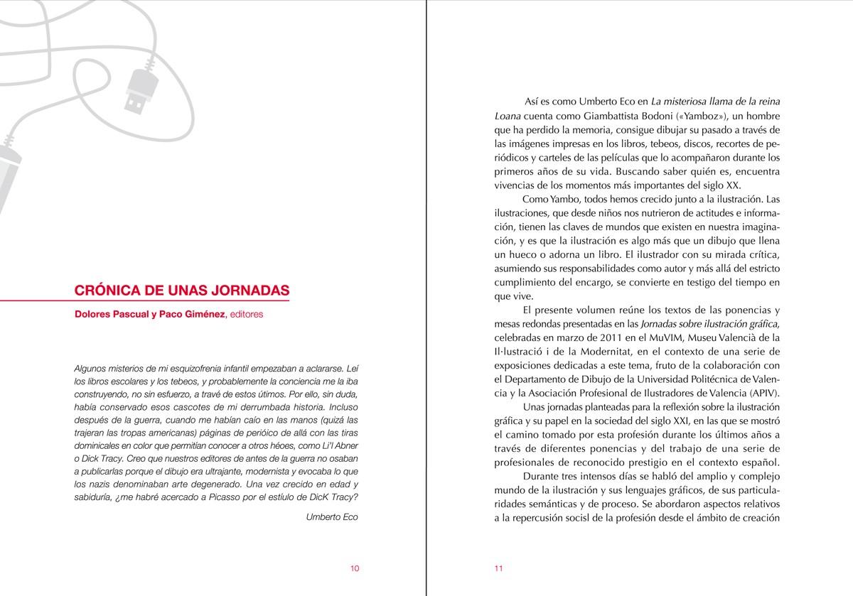 introducción 'Ilustración gráfica. Nuevos escenarios' memoria de las 'Jornadas sobre ilustración gráfica' MuVIM, diseño Paco Giménez