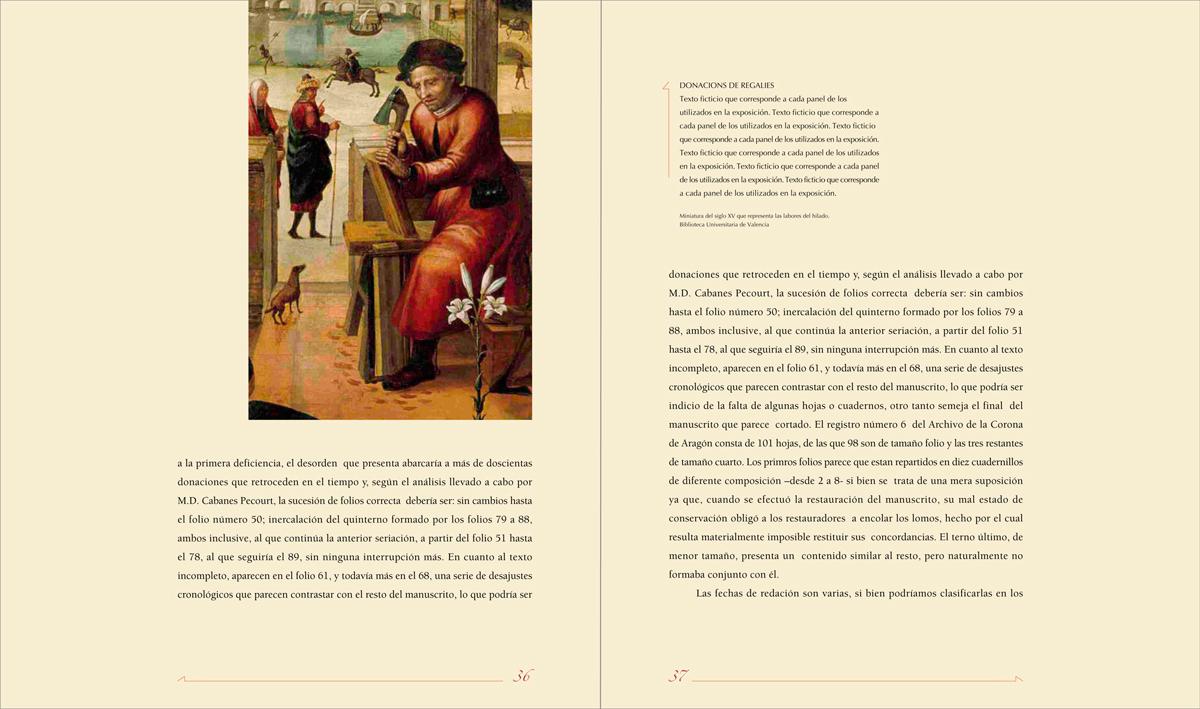 páginas del cuerpo - Llibre del Repartiment (Jaume I), diseño Paco Giménez