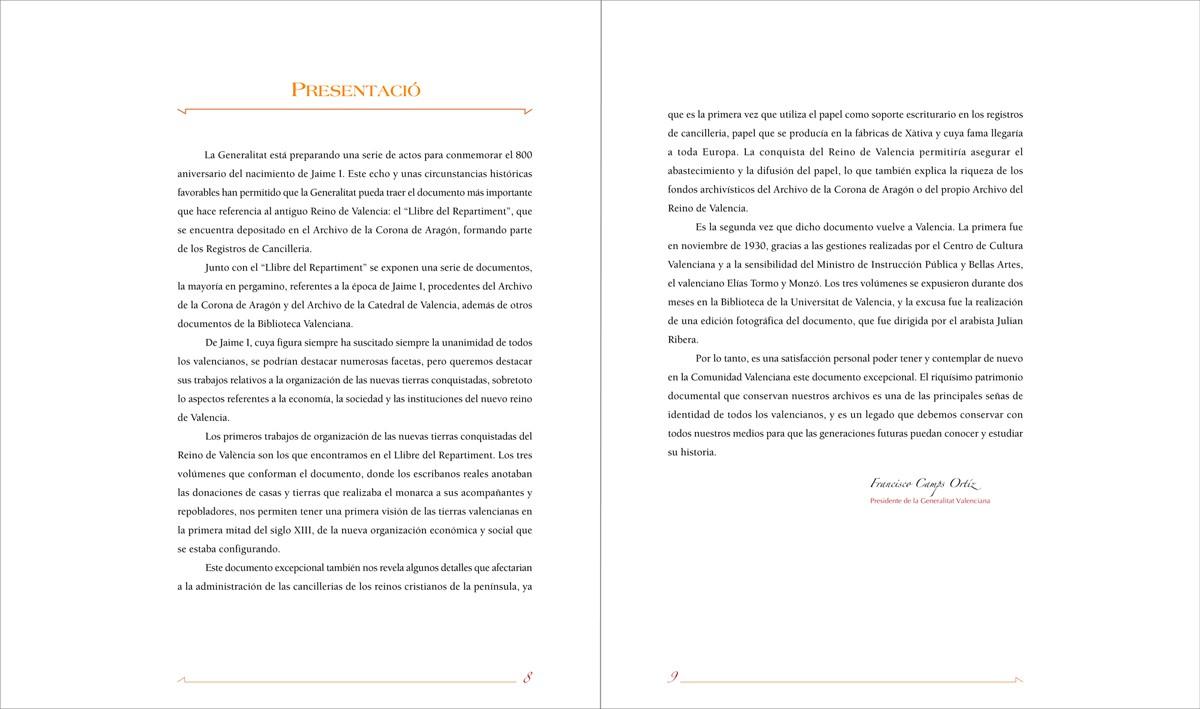 paginas de cortesia - Llibre del Repartiment (Jaume I), diseño Paco Giménez